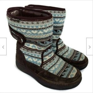 Skechers brown leather tone ups sweater boots